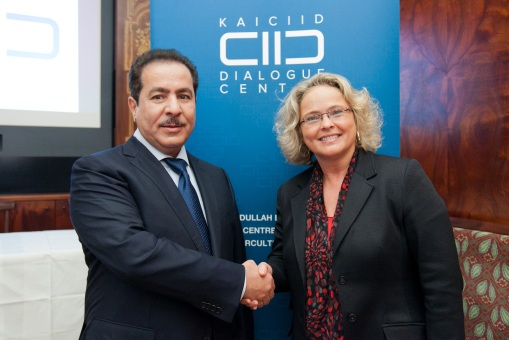 Claudia Bandion-Ortner bei der Eröffnung des Dialogzentrums mit Faisal Abdulrahman Bin Muaammar (KAICIID Generalsekretär),